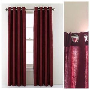 Threshold Burgundy Light Filtering Curtain Set